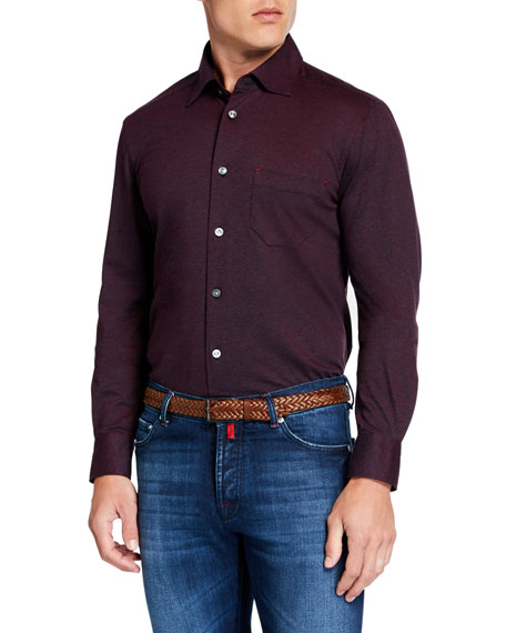 Kiton Men's Knit Sport Shirt, Burgundy
