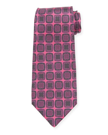 Kiton Clover-on-Box Silk Tie, Purple