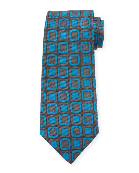 Kiton Clover-on-Box Silk Tie, Aqua