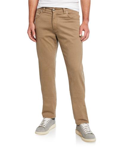 Men's Brushed Cotton 5-Pocket Pants, Khaki