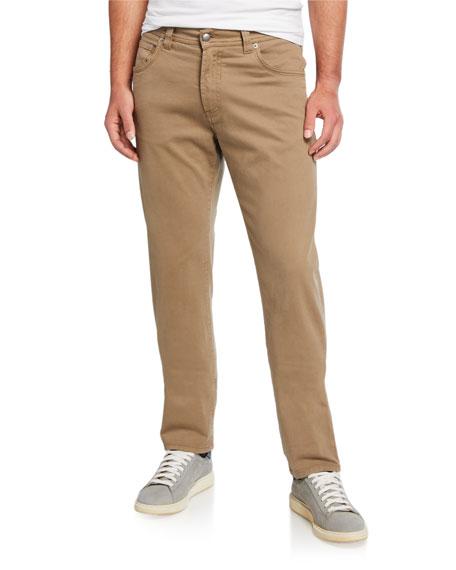 Neiman Marcus Men's Brushed Cotton 5-Pocket Pants, Khaki