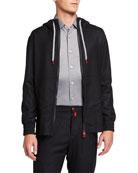 Kiton Men's Tonal-Check Zip-Front Jacket