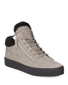 Giuseppe Zanotti Men's Crocodile-Print Shearling-Lined Leather