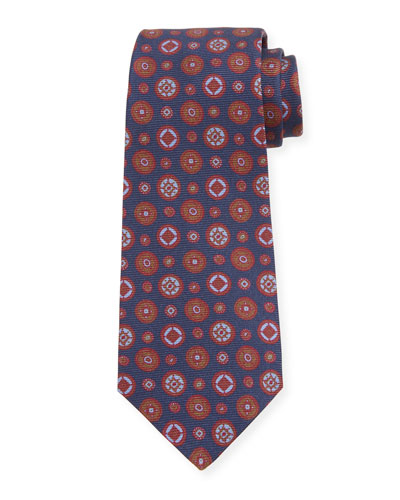 Men's Multi Medallions Silk Tie, Navy