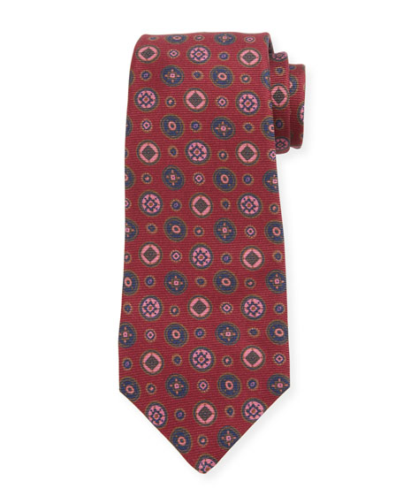 Kiton Men's Multi Medallions Silk Tie, Burgundy