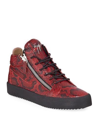 Men's Maskenada Snake-Embossed Leather Double-Zip Sneakers