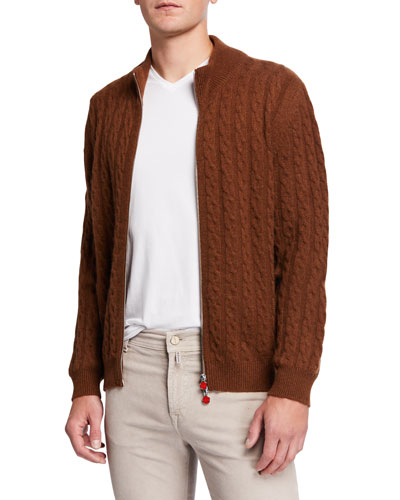 Men's Cable-Knit Two-Way Zip Cardigan Sweater