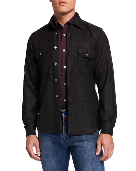 Kiton Men's Plaid Wool Overshirt