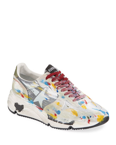 Men's Paint-Splatter Suede Running Sneakers
