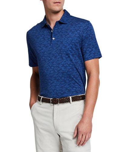Men's Fish-Print Polo Shirt