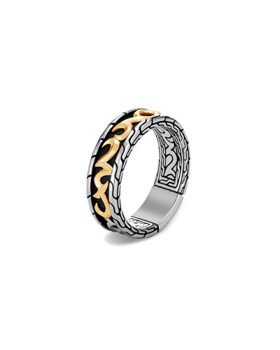 Men's Classic Chain 7mm Ring in 18K Yellow Gold & Sterling Silver, Size 9-12