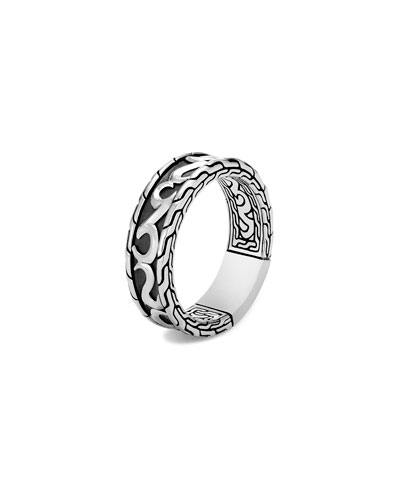Men's Classic Chain 18K Gold & Silver Ring with Damascus Steel, Size 9-12