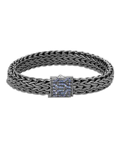 Men's Classic Chain Bracelet w/ Pave Clasp, Size M-L