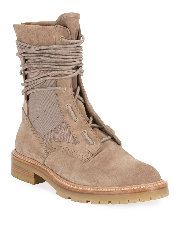Men's Mesh-Inset Suede Combat Boots