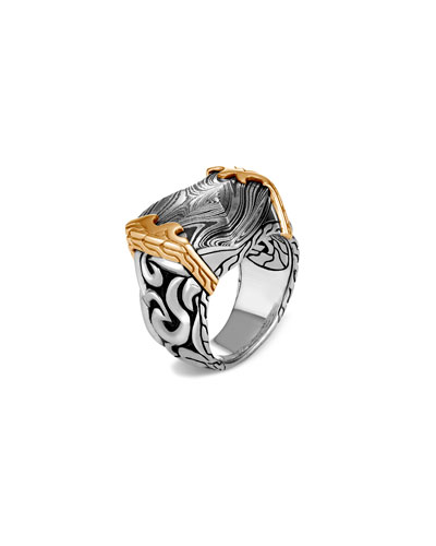 Men's Classic Chain 18K Gold & Silver Ring with Damascus Steel Woodgrain, ...