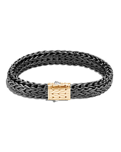 Men's Classic Chain Flat Sterling Silver Bracelet w/ Black Rhodium & 18k Gold