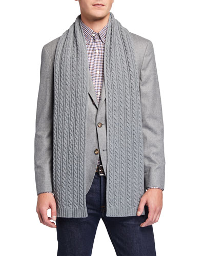 Men's Cable-Knit Wool Scarf, Gray