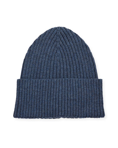 Men's Ribbed Wool Beanie Hat, Blue