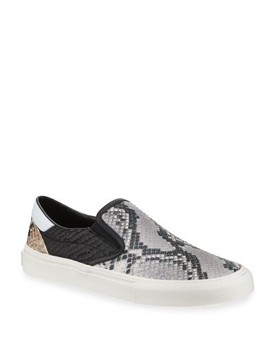 Men's Multi Python-Embossed Leather Slip-On Sneakers