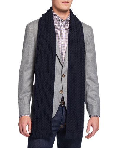 Men's Cable-Knit Wool Scarf, Navy