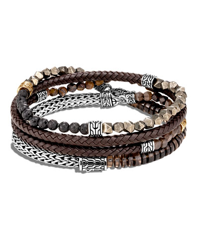 Men's Classic Chain Multi-Row Beaded Leather Wrap Bracelet, Size M-L
