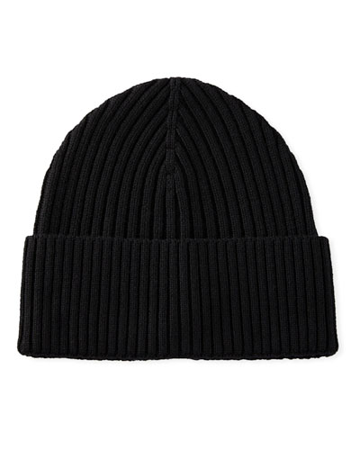 Men's Ribbed Wool Beanie Hat, Black