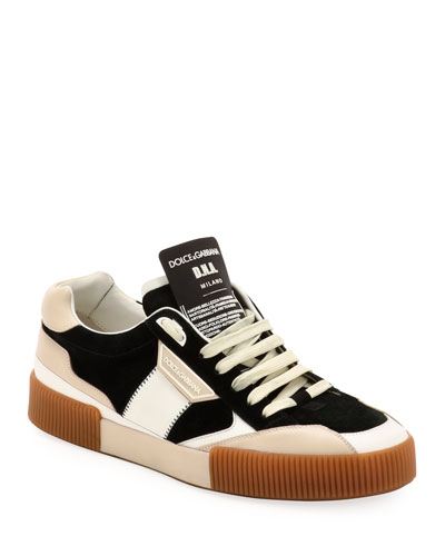 Men's Textured Colorblock Leather Sneakers