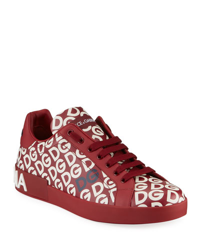 Men's Portofino Logo Mania Leather Low-Top Sneakers