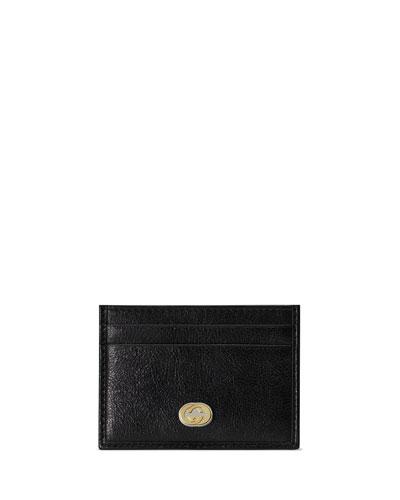 Men's GG Logo Leather Card Case