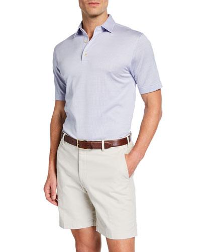 Men's Crown Ease Striped Cotton Lisle Polo Shirt