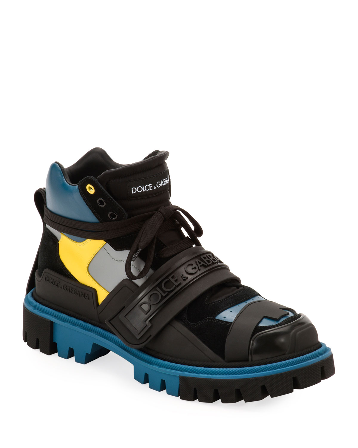 Men's Colorblock Leather Hiking Boots