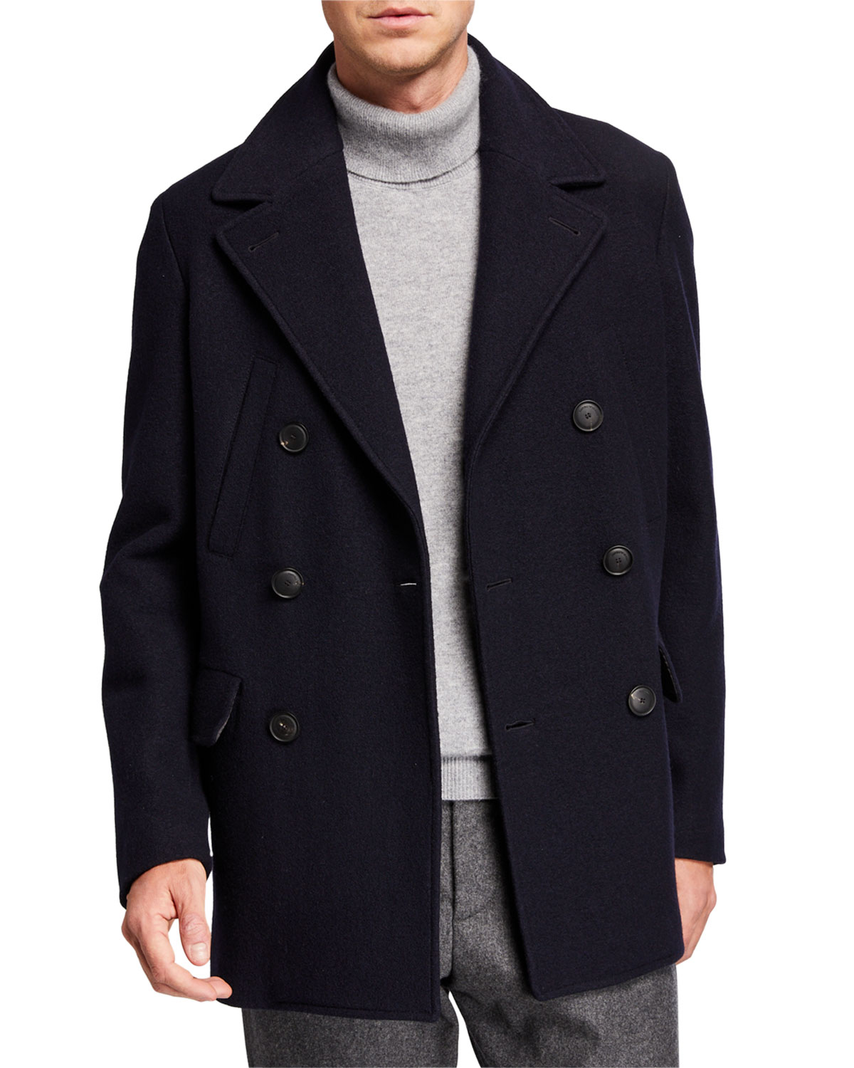 Emporio Armani Coats MEN'S DOUBLE-BREASTED WOOL PEA COAT