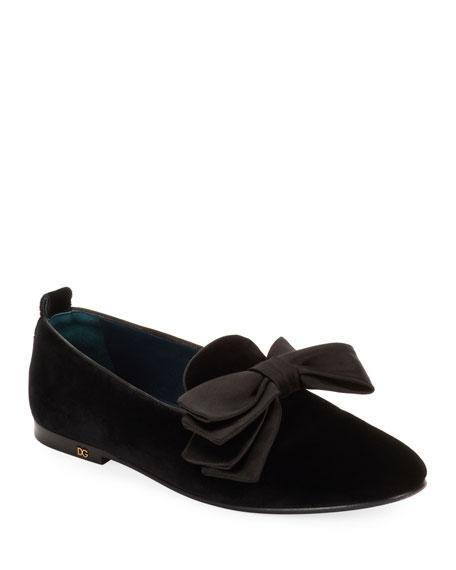 Dolce & Gabbana Men's Velvet Loafers with Bow