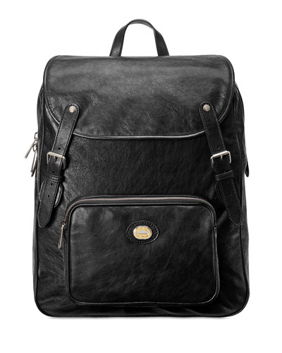 Men's Medium Leather Buckle Backpack
