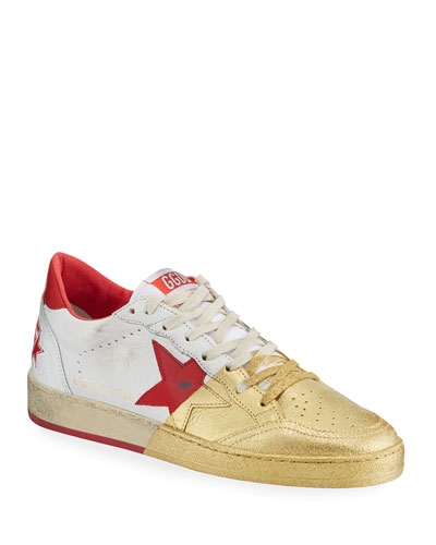 Men's Ball Star Distressed Leather Sneakers with Metallic Paint