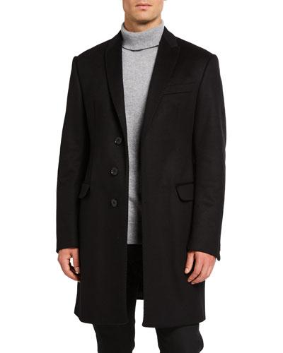 Men's Solid Water-Resistant Topcoat