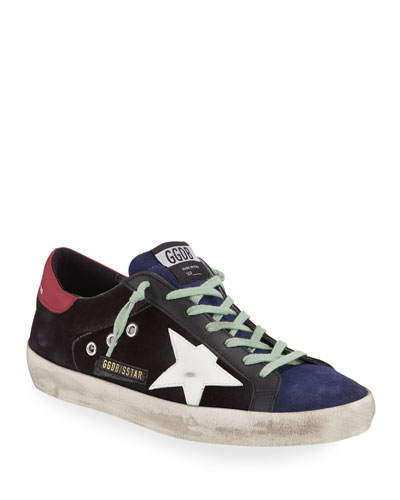 Men's Superstar Suede Sneaker with Distressed Treatment