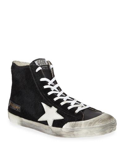 Men's Francy High-Top Calf Hair Sneakers w/ Dirty Treatment