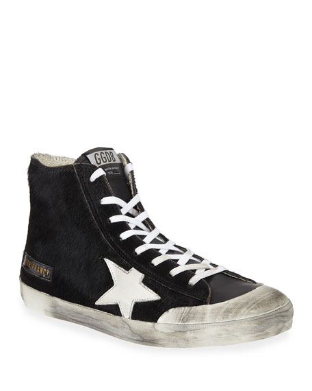 Golden Goose Men's Francy High-Top Calf Hair Sneakers w/ Dirty Treatment