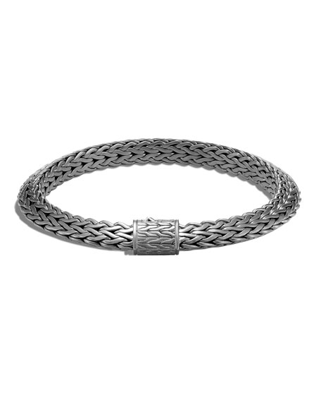 John Hardy Men's Classic Chain Tiga Bracelet with Satin Black Rhodium, Size M-L