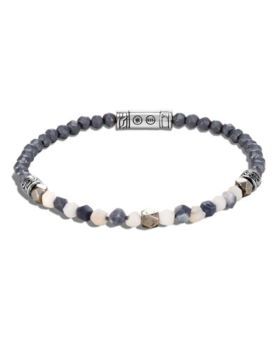 Men's Classic Chain Beaded Bracelet with Opal, Hematite & Calcite
