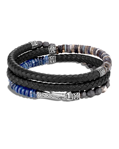 Men's Classic Chain Beaded Leather Wrap Bracelet, Black