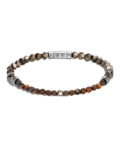 Men's Classic Chain Beaded Bracelet with Pyrite, Tiger Iron, Smoky Quartz & ...