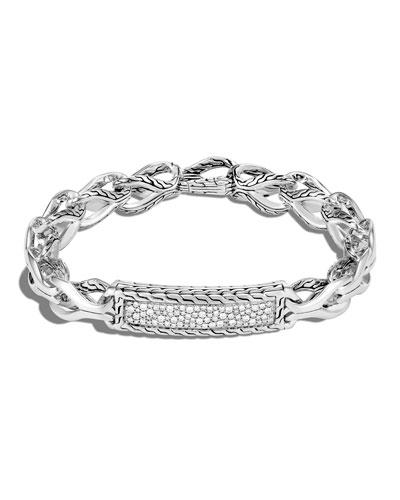 Men's Asli Classic Chain Diamond Pave ID Plate Bracelet