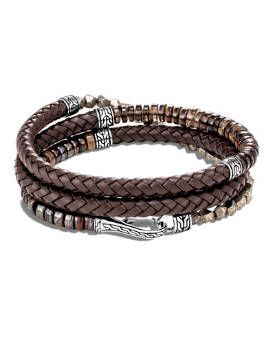 Men's Classic Chain Beaded Leather Wrap Bracelet, Brown