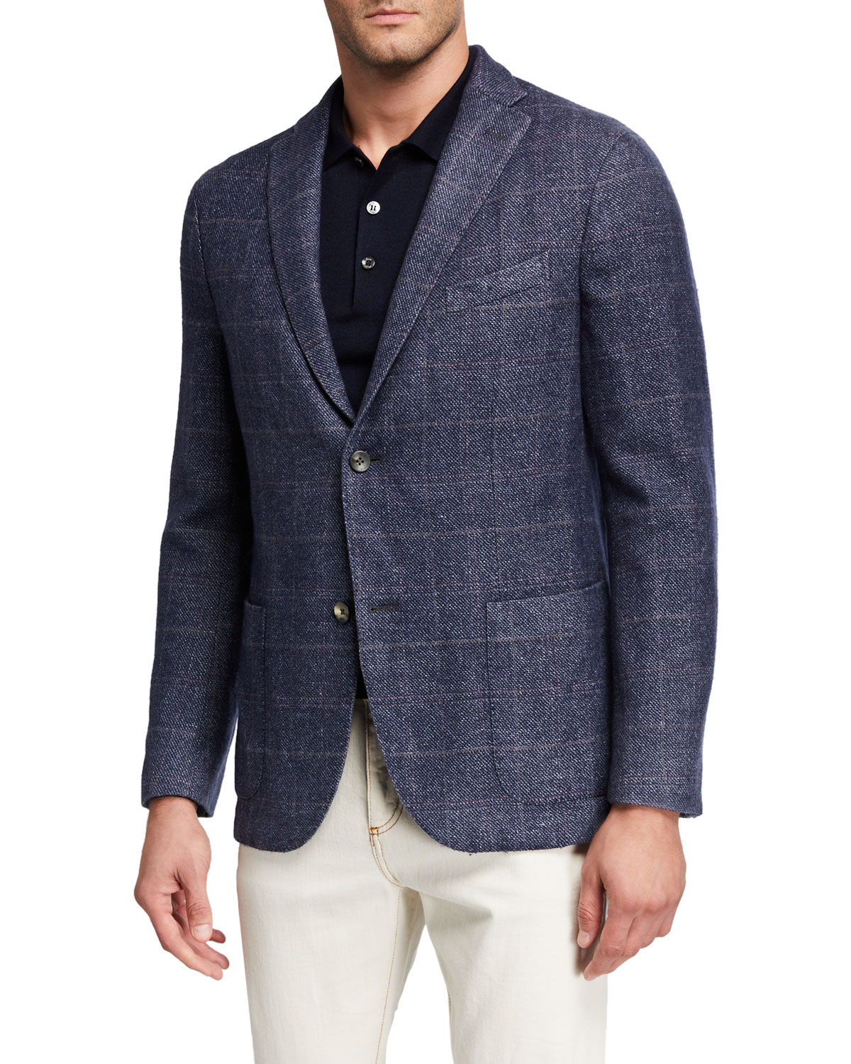 Boglioli Jackets MEN'S WASHED WOOL PLAID TWO-BUTTON JACKET