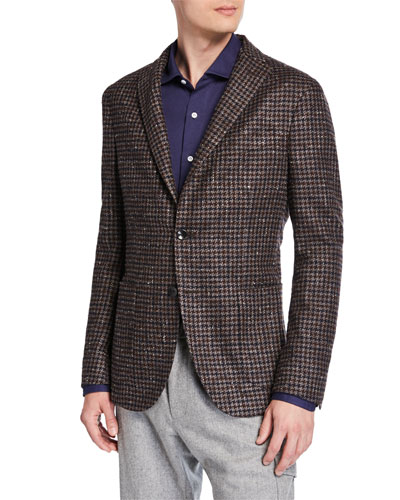 Men's Two-Tone Houndstooth Two-Button Jacket
