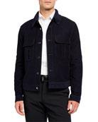 Giorgio Armani Men's Moleskin Jacket w/ Rib-Knit Collar