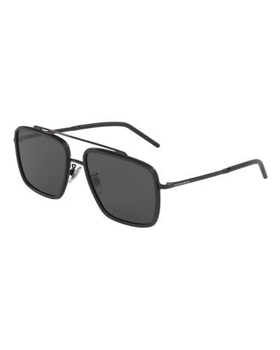 Men's Square Metal Double-Bridge Sunglasses