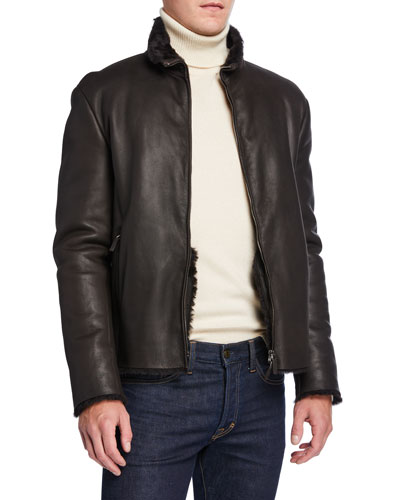 Men's Shearling-Lined Leather Jacket